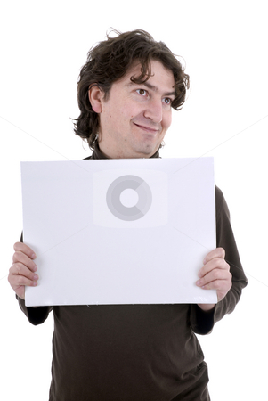 Add stock photo, Man with a white card in a white background by Rui Vale de Sousa