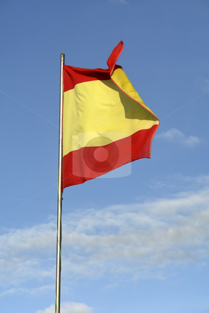 Spain stock photo, Spanish flag whith the sky as background by Rui Vale de Sousa