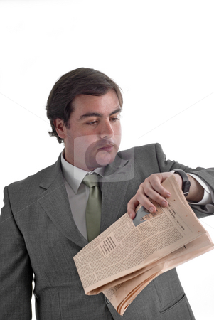Newspaper stock photo, Young businessman with a newspaper isolated on white by Rui Vale de Sousa
