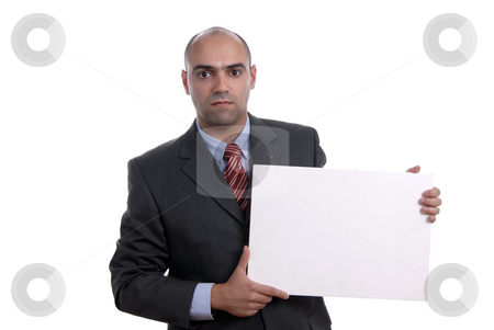Empty stock photo, Business man with an empty white card by Rui Vale de Sousa