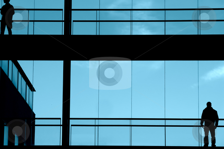 Blue stock photo, People in the building by Rui Vale de Sousa