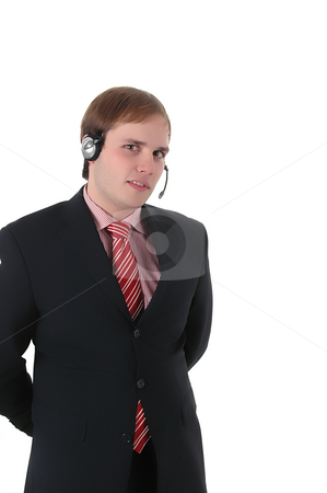Call center stock photo, Young call center man talkind by the phone by Rui Vale de Sousa