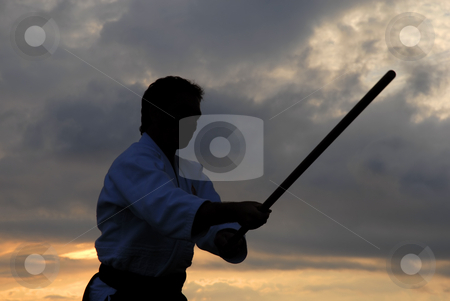 Aikido stock photo, Aikido master silhouette with stick at sunset by Rui Vale de Sousa