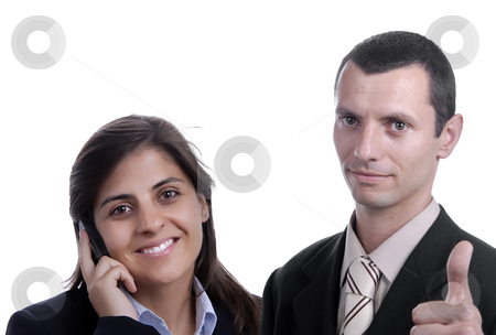Calling stock photo, Young business couple portrait isolated on white by Rui Vale de Sousa