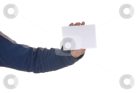 Card stock photo, Young man hand showing a white card by Rui Vale de Sousa
