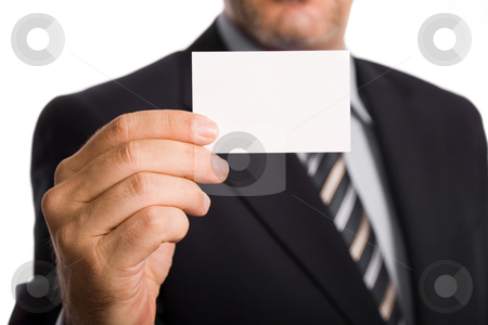 Card stock photo, Hand of businessman offering business card on white background by Rui Vale de Sousa