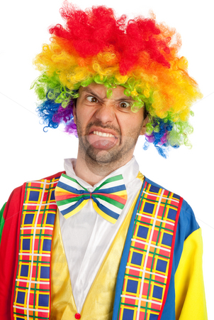 Crazy stock photo, Silly clown making a face isolated on white by Rui Vale de Sousa