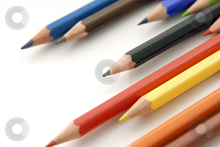 Pencils stock photo, Some colors pencils isolated on white background by Rui Vale de Sousa
