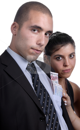 Money stock photo, Couple in studio, woman takes money from man poket by Rui Vale de Sousa