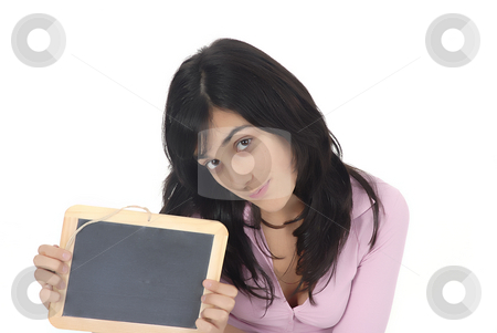 Teen stock photo, Young girl with a blackboard in a white background by Rui Vale de Sousa