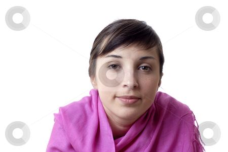 Woman stock photo, Young woman portrait in a white background by Rui Vale de Sousa