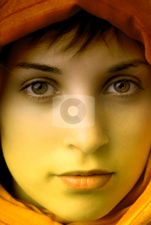 Close stock photo, Young beautiful woman, close up portrait, clored by Rui Vale de Sousa