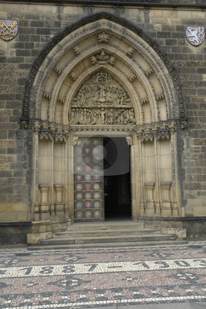 Gothic stock photo, Gothic church door detail in the city of prague by Rui Vale de Sousa