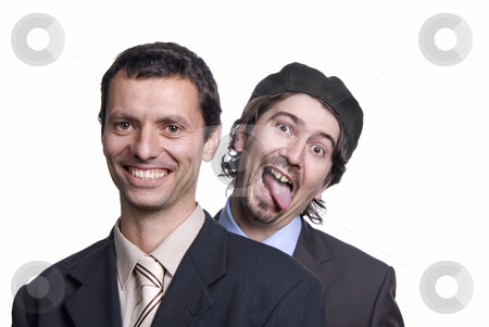 Silly stock photo, Two silly young men portrait on white, focus on the right man by Rui Vale de Sousa