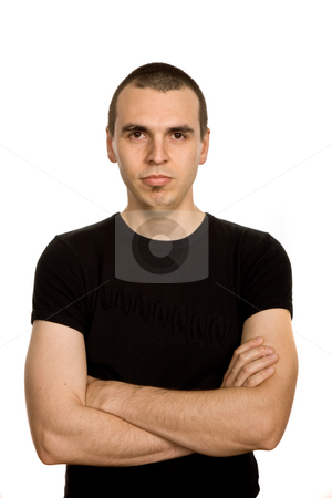 Pose stock photo, Young casual man portrait, isolated on white by Rui Vale de Sousa