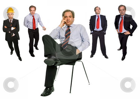 Seat stock photo, Mature businessman in different positions, isolated on white by Rui Vale de Sousa