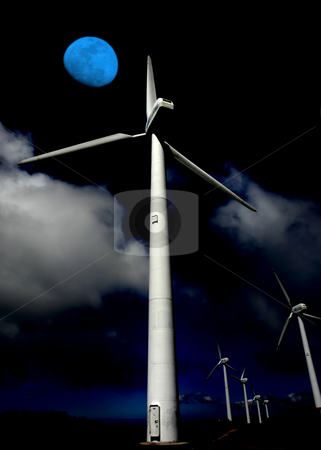 Alternative stock photo, Giant energy wind turbines and the moon by Rui Vale de Sousa