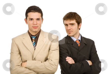 Team stock photo, Two young business men portrait on white, focus on the left man by Rui Vale de Sousa