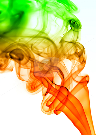 Blue smoke stock photo, Colored rays of smoke abstract in white background by Rui Vale de Sousa