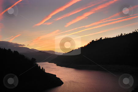 Sunset stock photo, River in the mountains at the sunset by Rui Vale de Sousa
