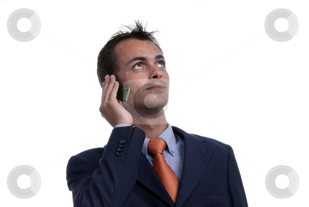 Phone stock photo, Young man on the phone in white background by Rui Vale de Sousa