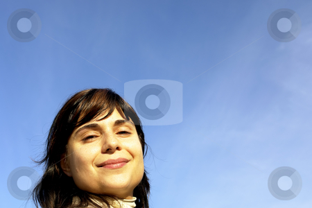 Face stock photo, Young woman close up portrait enjoying the sun by Rui Vale de Sousa