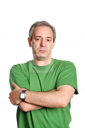 Unhappy stock photo, Mature casual man portrait, isolated on white by Rui Vale de Sousa