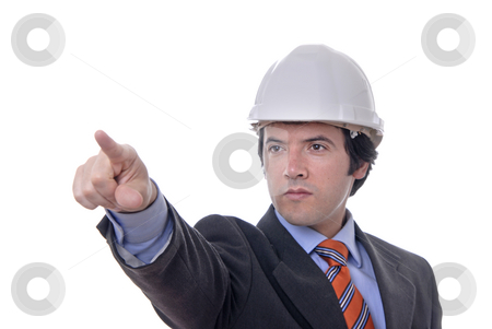 Pointing stock photo, An engineer pointing up, isolated on white by Rui Vale de Sousa