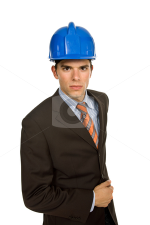 Engineer stock photo, An engineer with blue hardhat, isolated on white by Rui Vale de Sousa