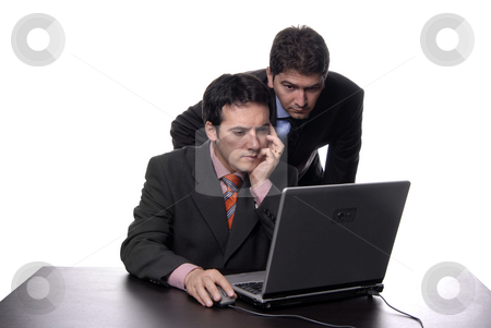 Business man stock photo, Two young business man working with laptop by Rui Vale de Sousa