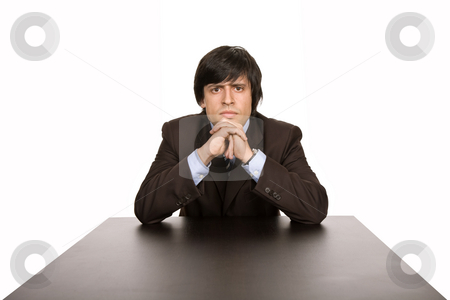 Thinking stock photo, Young business man on a desk, isolated on white by Rui Vale de Sousa