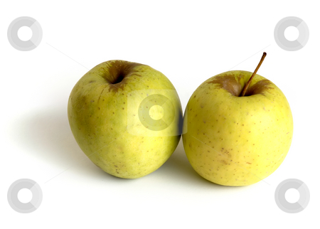Apples stock photo, Two yellow apples isolated in white background by Rui Vale de Sousa