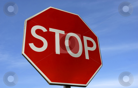 Stop stock photo, Big stop sign and the blue sky by Rui Vale de Sousa