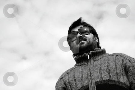 Wait stock photo, Young casual man with the sky as background by Rui Vale de Sousa