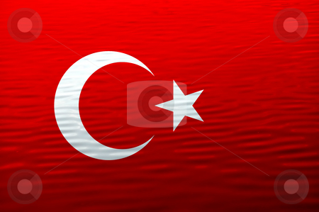 Flag stock photo, Turkey flag in the water illustration, computer generated by Rui Vale de Sousa