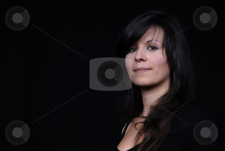 Girl stock photo, Young woman portrait isolated on black background by Rui Vale de Sousa