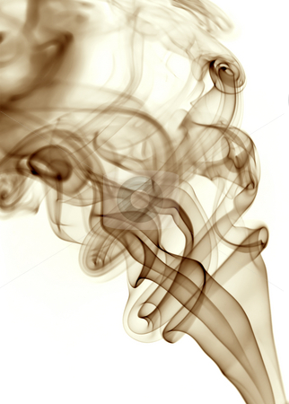 Blue smoke stock photo, Brown rays smoke abstract in white background by Rui Vale de Sousa