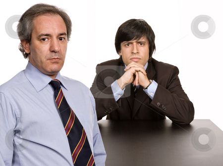 Thinking stock photo, Two business men boss and worker on a desk, isolated by Rui Vale de Sousa