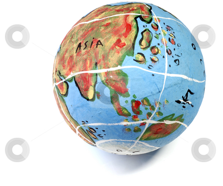 Globe stock photo, Closeup of a globe showing the asia isolated on white by Rui Vale de Sousa