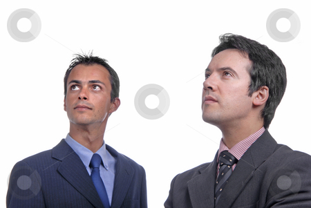 Business men stock photo, Two young business men portrait on white. focus on the left man by Rui Vale de Sousa