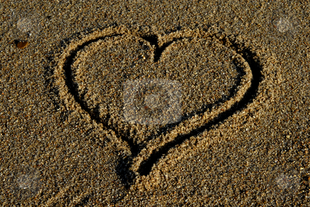 Heart stock photo, Hand drawn heart on the sand detail by Rui Vale de Sousa