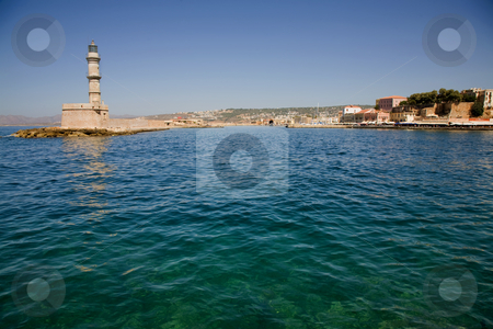 Chania stock photo, Venetian port with lighthouse of Chania, greek island of crete by Rui Vale de Sousa