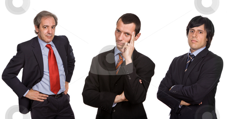 Three stock photo, Three business men isolated on white, focus on the center man by Rui Vale de Sousa