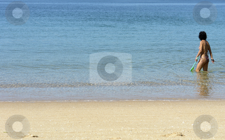 Beach stock photo, Young woman at the beach in the north of spain by Rui Vale de Sousa