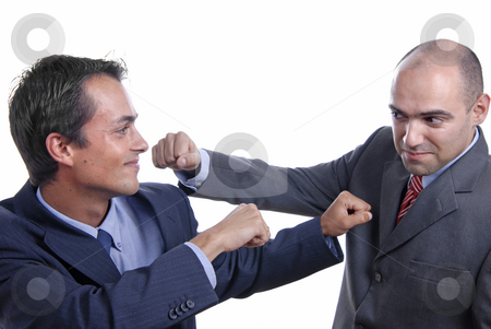 Fight stock photo, Young business men fighting isolated on white by Rui Vale de Sousa