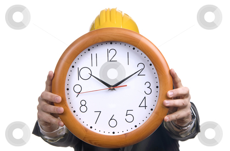 Clock stock photo, Engenier man wearing suit holding clock in the head by Rui Vale de Sousa