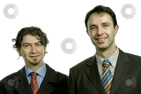 Standing stock photo, Two young business men portrait on white by Rui Vale de Sousa