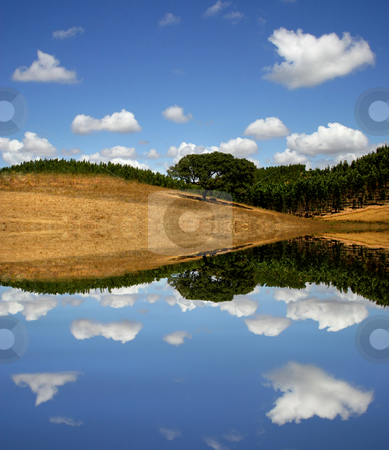 Hill stock photo, Natural south portuguese landscape, with water reflection by Rui Vale de Sousa
