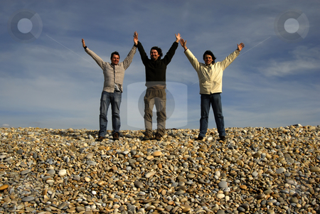 Happy stock photo, Three casual young men at the beach by Rui Vale de Sousa