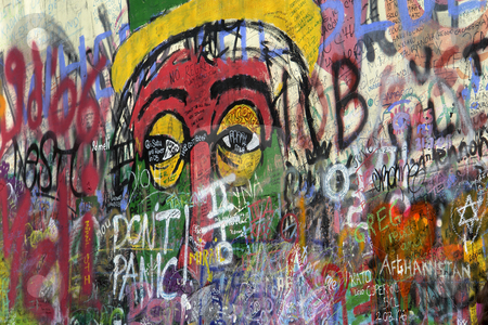 Graffitti stock photo, Famous graffitti of jonh lenon in prague by Rui Vale de Sousa